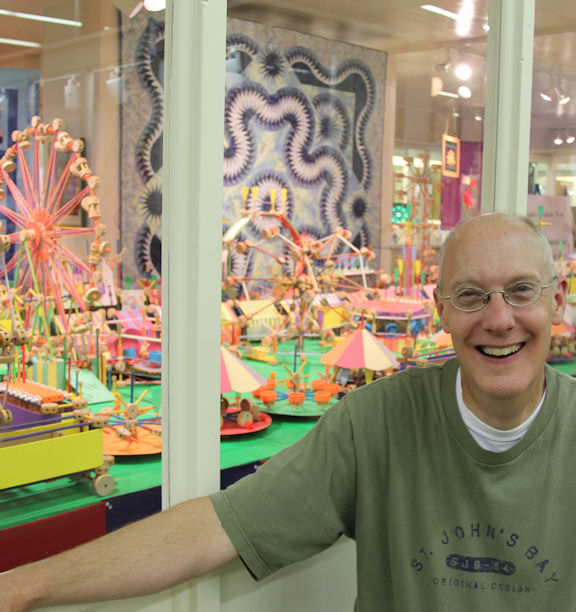 A complete midway of TinkerToy carnival rides created by owner and artist, Kevin Kuhlman